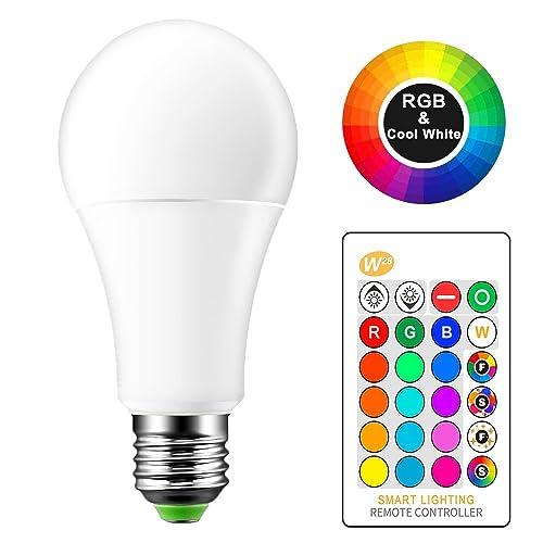 OurLeeme Cambio Color la Bombilla Regulable, E27 15W RGB 16 Colores Opciones, Control Remoto