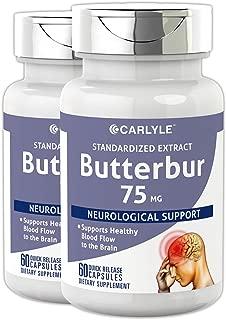 Carlyle Butterbur Extract Standardized 75 mg 120 Capsules – Migraine Headache Formula – Non-GMO, Gluten Free, PA Free