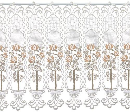 Plauener Spitze by Modespitze, Store Bistro Gardine Scheibengardine mit Stangendurchzug, hochwertige Stickerei, Höhe 50 cm, Breite 96 cm, Creme/Beige/Lachs