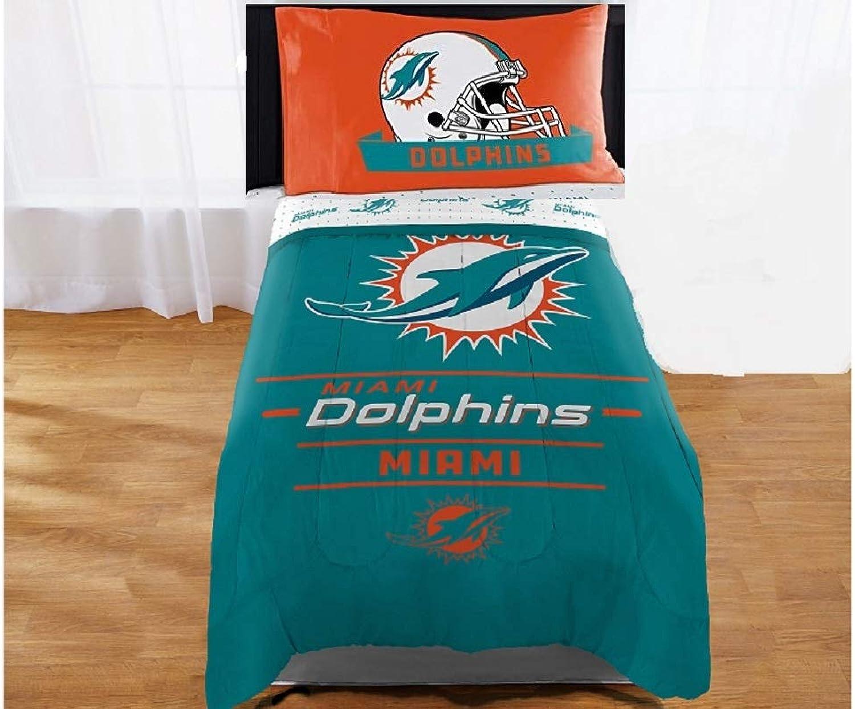 "MIAMI DOPHINS ""Twin 4 Piece Bedding Set (Reversible Comforter ● Sheets ● Pillowcase)"