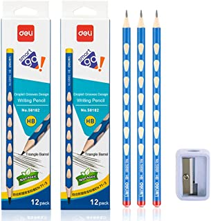 Deli HB Pencils with 2 Sharpeners, Corrects Handwriting Posture, Pack of 24 Wood Pencils with Most Comfortable Grip, Graph...