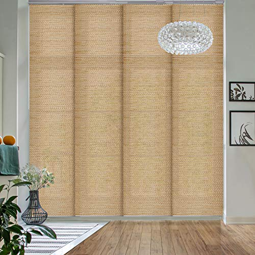 """GoDear Design Deluxe Adjustable Sliding Panel Track Blind 45.8""""- 86"""" W x 96"""" H, Extendable 4-Rail Track Track, Trimmable Natural Woven Fabric, Pecan"""