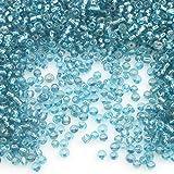 450g, Rocailles Perlen 4mm, 6/0, Glasperlen, Roccailles, 5000 Stück, Farbauswahl (Blau Silbereinzug)