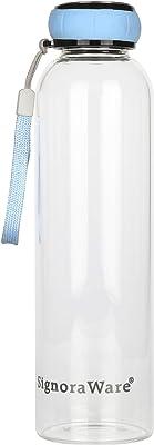Signoraware Marine Borosilicate Glass Bottle, 550ml, Blue