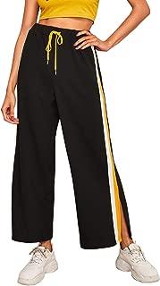 Women's Side Stripe Elastic Waist Wide Leg Pocket Loose Pants
