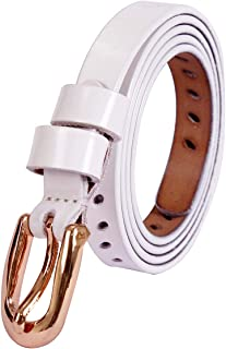 uxcell® Women Classic Skinny Belt With Oval-Shaped Hollow Alloy Buckle Multicolor