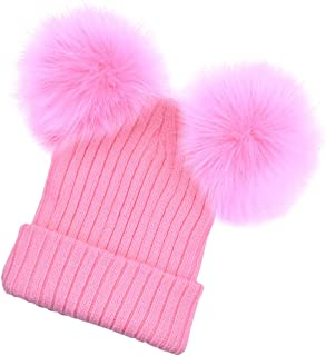 Generic Baby Beanie Hat Cap Winter Warm Double Pom Bobble Knit Ski - Pink for Mother, as described