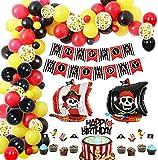 Piraten Geburtstag Party Deko Set, Geburtstag Banner, Geburtstagsfeier Dekorationen mit Pirat Luftballons Folien Luftballons Latex Luftballons und Cake Topper, Piratengirlande für Jungen