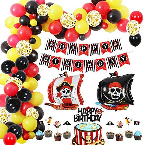 Juego de globos decoración para fiesta cumpleaños pirata, pancarta de cumpleaños, globos de látex, adorno para tartas, guirnalda pirata para niños