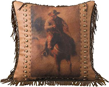 Roping Cowboy and Bronc Vintage Look Printed Faux Leather Pillow with Fringe