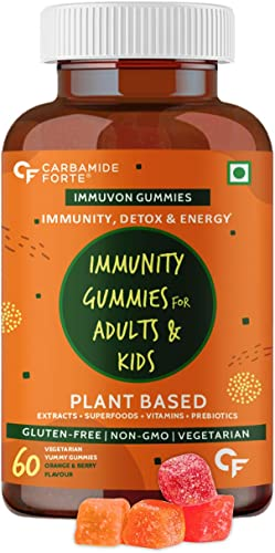 Carbamide Forte Immunity Booster Gummies for Adults Kids with Vitamin C Plant Based Extracts Superfoods Vitamins Minerals Prebiotics 60 Veg Gummies