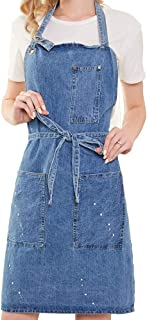 Art Painting Denim Blue Apron Ikebana Jean Apron with 3 Pockets for Unisex Distressed Adjustable Men and Women (Washing Style)