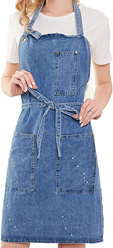 Art Painting Denim Blue Apron Ikebana Jean Apron With 3 Pockets For Unisex Distressed Adjustable Men And Women Washing Style