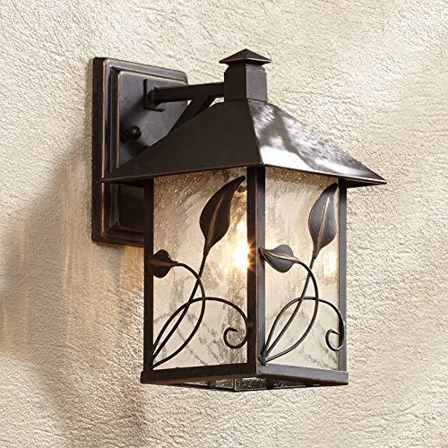 French Garden Rustic Outdoor Wall Light Fixture Lantern Bronze Metal 10 1/2