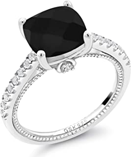 925 Sterling Silver Black Onyx and White Created Sapphire Women's Engagement Ring (4.07 Ct Cushion Checkerboard Cut 10MM)