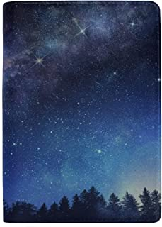 Milky Way and Starry Night Sky Blocking Print Passport Holder Cover Case Travel Luggage Passport Wallet Card Holder Made with Leather for Men Women Kids Family