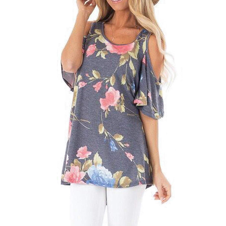 Eaktool Womens Tops,Fashion Womens O-Neck Strapless Printing Short Sleeve T-Shirt Blouse Easy Tops