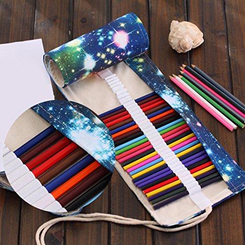 Asnlove Retro Pencil Wrap Roll up Holder Rollentasche Federmappe Schlamperrolle Mäppchen Bleistiftkasten für 48 Löcher Farbige Stifte für Buntstift aus Canvas für Make up/Schule/Büro/Kunst