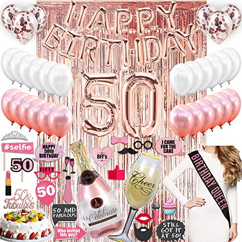 50th Birthday Decorations with Photo Props, 50 Birthday Party Supplies, 50 Cake Topper, Rose Gold Banner, Rose Gold Confetti Balloons for Her, Rose Gold Foil Curtain Backdrop 50