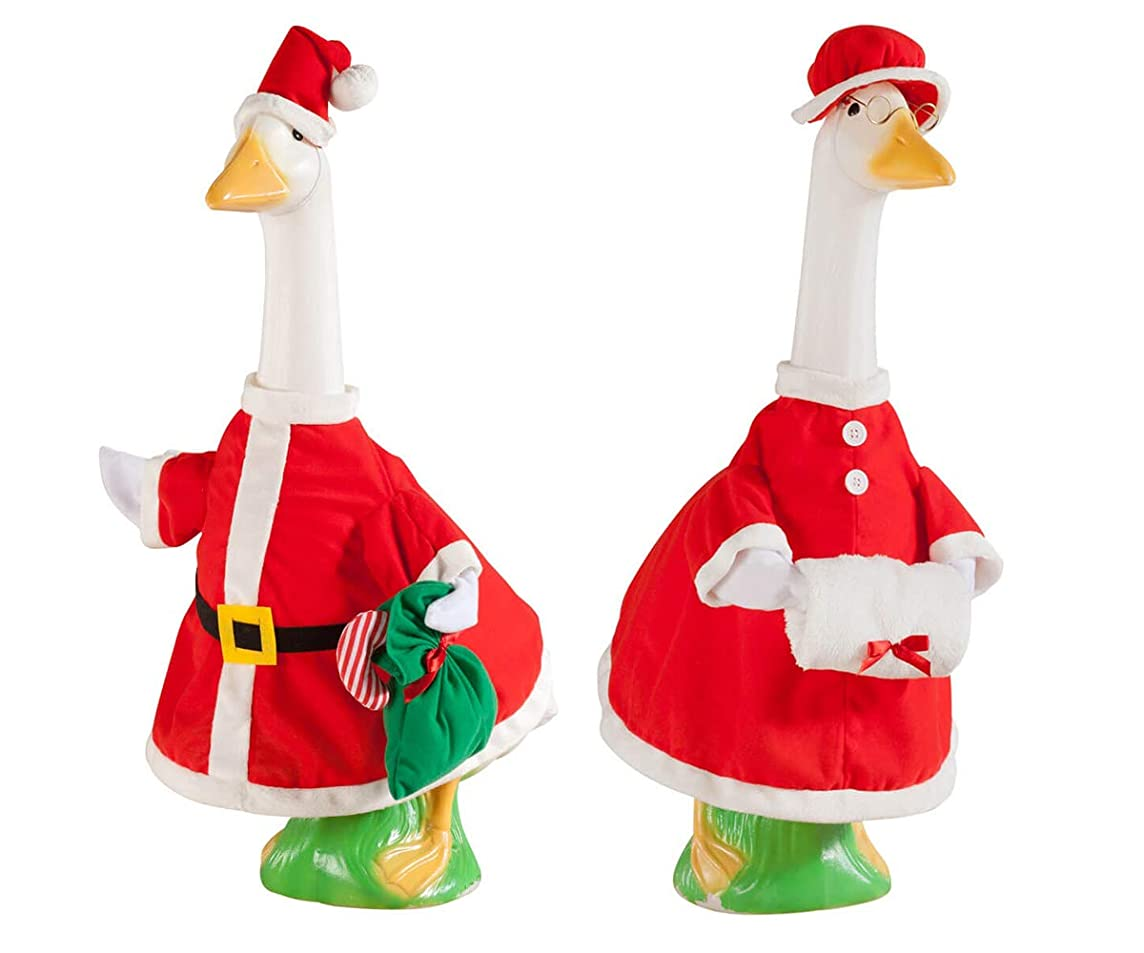 Mr and Mrs Santa Claus Goose Outfit, Red 2 Pcs