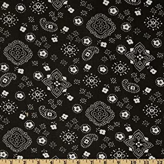Richland Textiles 0268283 Bandana Prints Black Fabric by the Yard