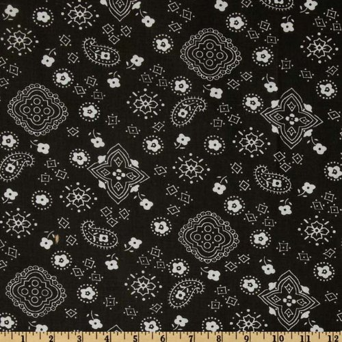 Richland Textiles 0268283 Bandana Prints Black Quilt Fabric by the Yard