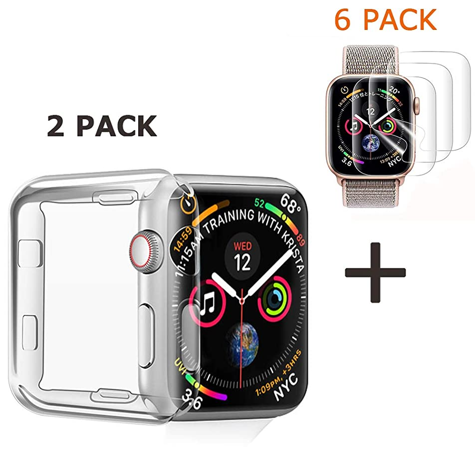 ペン解明養うKartice Compatible with Apple Watch 5/4 44mm (2 PACK)保護ケース+(6 PACK)保護フイルム 水貼りフイルム ケースに干渉せず 貼り直し可 耐指紋 耐衝撃 Apple Watch Series 5/4 44mm対応