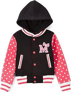 Girl Varsity Jacket with Polka Dot Sleeves Red Pink
