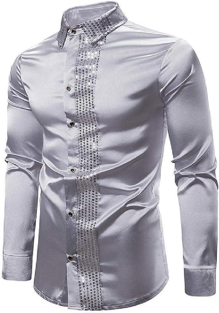 U/A Camisa de satén brillante para hombre, manga larga, con ...