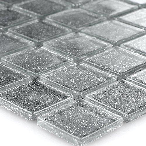 Glasmosaik Mosaikfliesen Silber Glitzer