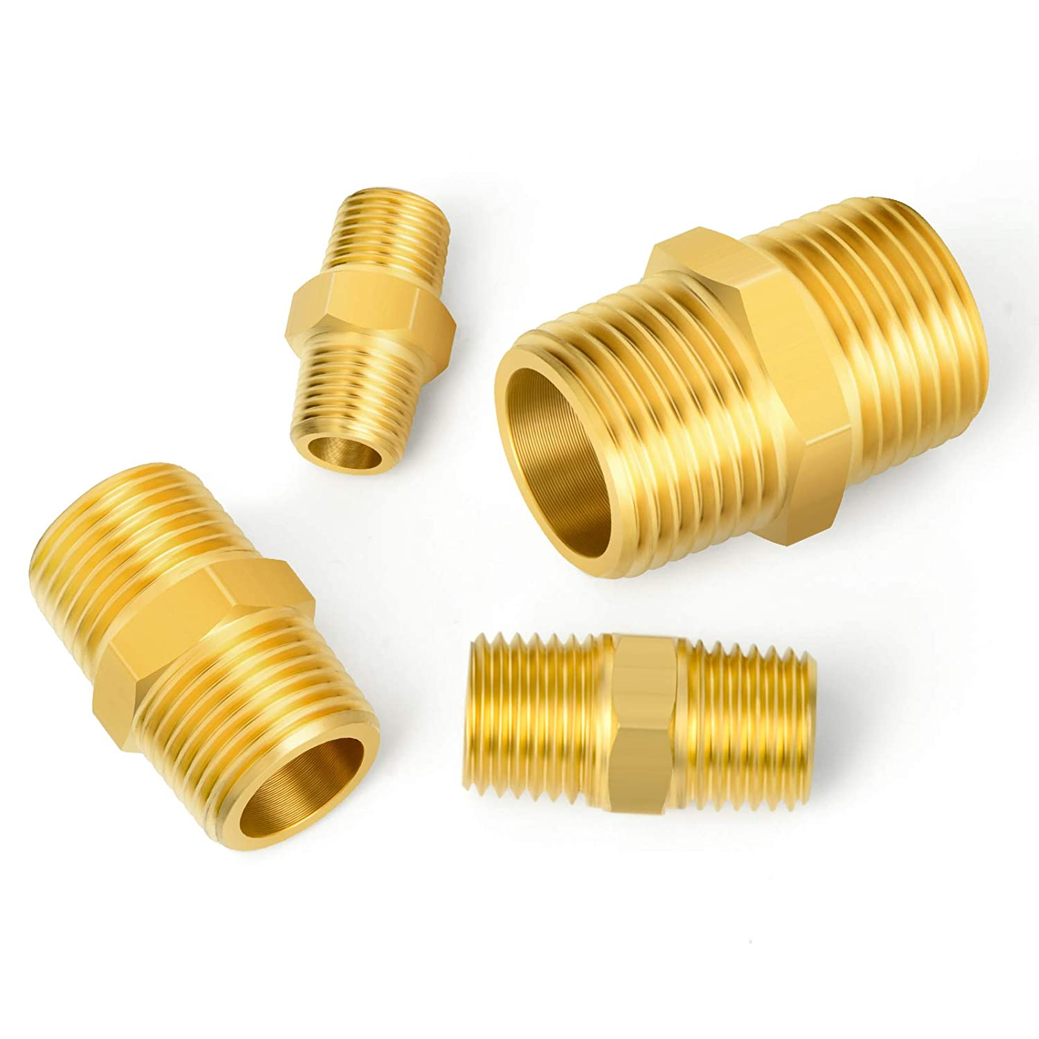 Gasher 8PCS Brass Pipe Fitting Hex Coupling Kit 1//8 inch 1//4 inch 3//8 inch 1//2 inch