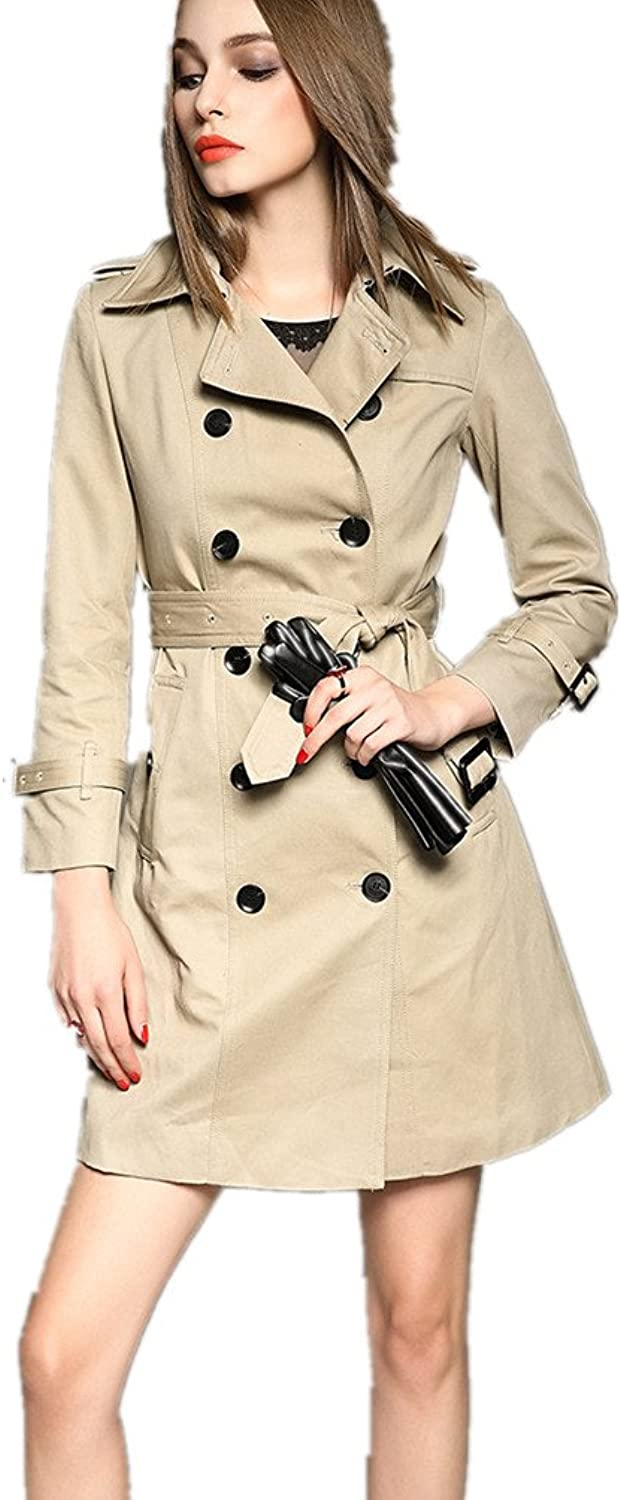 Bobbycool Womens Wear Long Sleeved Jacket Genuine Double Breasted Coat