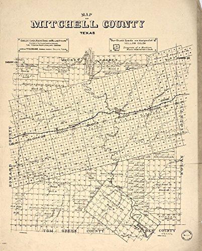 """ヴィンテージ1890Mitchell郡のマップ。–Shows landownership。–""""チャールズ・J・カンダ、Simeon J Drake andウィリアム・Strauss , LandsのProprietors heretoforeテキサス&太平洋鉄道会社に属する。アドレスW。H。エイブラムス、一般エージェント、ダラス、テキサス。""""–LC土地所有権マップ、1079–A Mitchell郡、テキサス、アメリカ合衆国"""