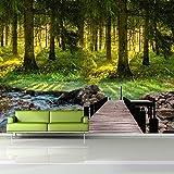 Fototapete 3D Effekt Tapete Selbstklebend Wand Dekoration Moderne Minimalistische Grüne Waldtapete...