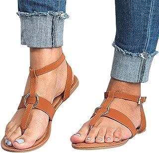 Toe Thong Sandals for Women Discount,melupa Ladies Summer Buckle Flat Flip Flops Slippers Beach Sandals Roman Shoes