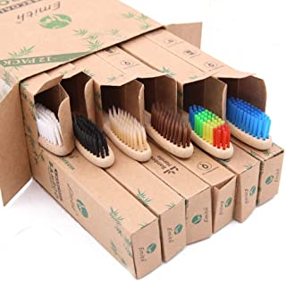 12 Pcs Bamboo Toothbrushes Biodegradable Charcoal Toothbrush Natural Eco-Friendly Toothbrushes with Soft Bristles(Multi-co...