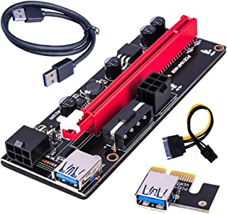 PCI-E Riser Board 1X till 16X GPU Extender Riser Card PCI-E USB 3.0 GPU Adapter med 6pin Interface, Red
