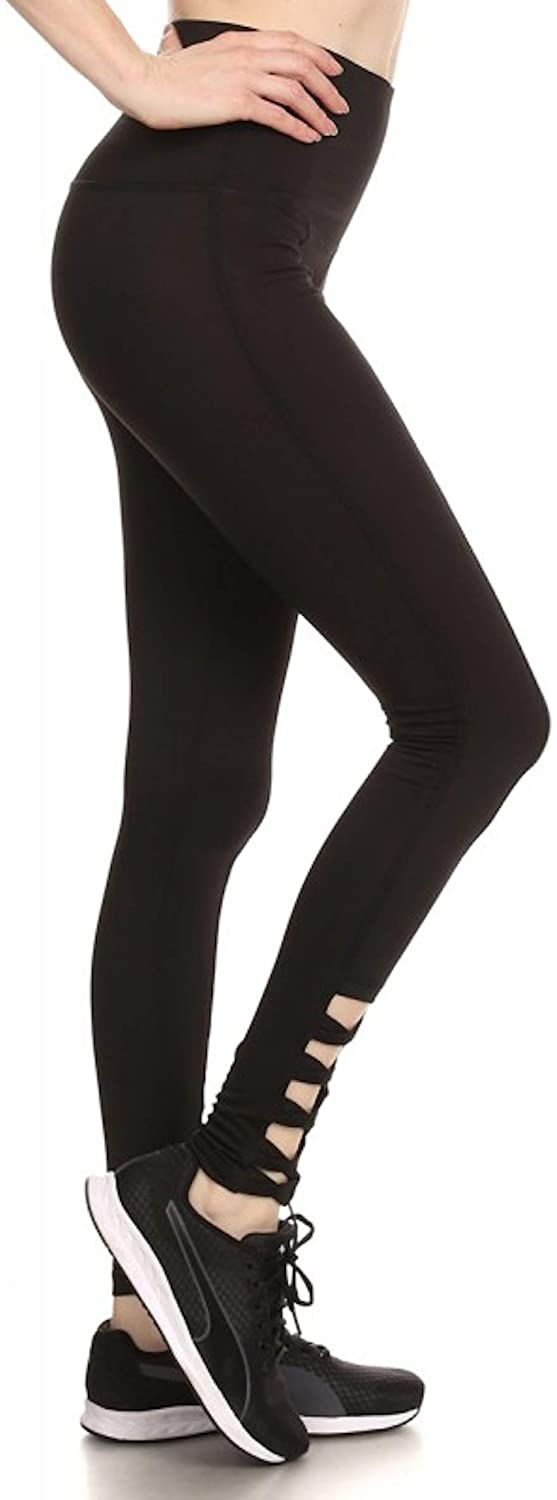 ShoSho Sport Leggings Tights Active Yoga Pilates Capri and Long Mesh Panel, Cut-Out Work-Out