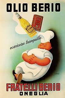 Chef Cook Dream Olio Oil Berio Fratelli Oneglia Kitchen Food Italy Italia Italian Vintage Poster Repro (16