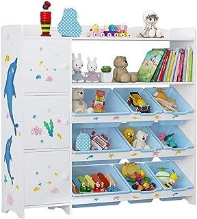 ZoSiP Enfants Jouet House Rack Storage Étagère de Rangement pour Enfants Organisateur de Jouets avec des boîtes Amovibles ...