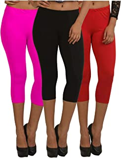 Fablab ¾ Capri Leggings for Women_Girls_Ladies Cotton Capri_CLS_190-3-12PBR,PinkBlackRed,Free Size Combo Pack of 3.
