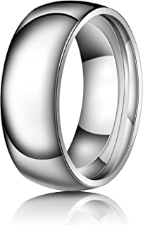 Just Lsy 8mm Titanium Rings Plain Dome High Polished Silver Wedding Band in Comfort Fit for Men & Women Size 5.5-15