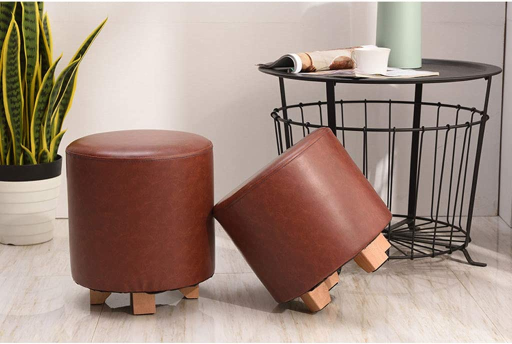 Shengluu Tabouret Pied Repose-Pieds Tabouret Bas Change Chaussures Banc LST-056 (Couleur : Brown) Brown