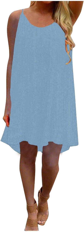 Tank Dress for Women Summer Casual Sleeveless Flowy Midi Tank T Shirt Dresses Beach Sundress