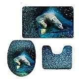 coloranimal Emoji patrón 3piezas Set de baño con alfombra/contorno/cubierta de la tapa con goma