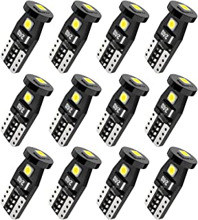 T10 194 168 2825 W5W 3SMD LED Bulbs, White 6000k Super Bright 3030 Chipsets Used for Dome Light, Map Light, Door Courtesy Light, License Plate Lights, Trunk Light(Pack of 12)