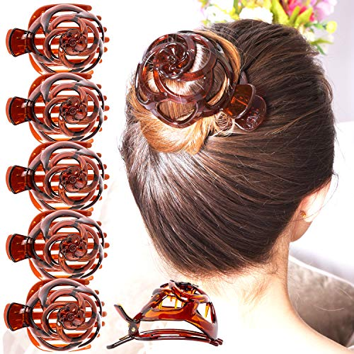 RC ROCHE ORNAMENT 6 Pcs Womens Stylish Rose Dome Comb Clamp Shell Plastic No Slip Strong Secure Grip Side Slide Bun Maker Beauty Accessory Hair Clip, Medium Brown