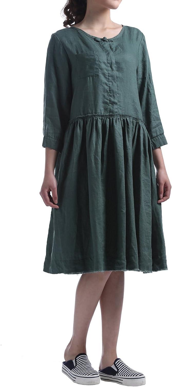 HUAN XUN Women's OnePiece High Waist Loose Linen Midi Dress Blouse Half Sleeve
