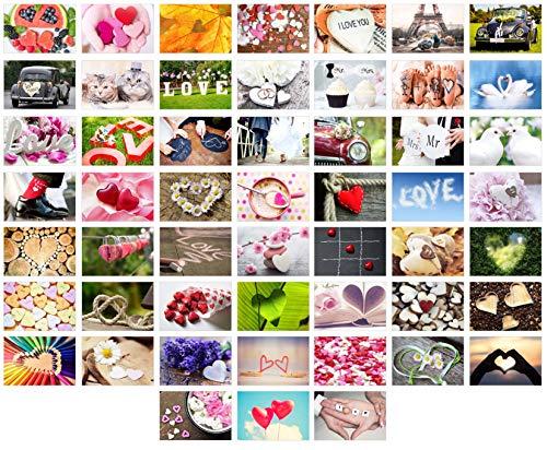 Set 52 Premium Postkarten zur Hochzeit - Hochzeitsspiel: eine Postkarte jede Woche - Hochzeitsgeschenk - Liebe + Herzen – Dekoidee – Valentinstag - Gästebuch - Geburtstag - Danke (52 Postkarten Set 2)