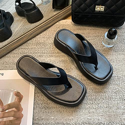 Sandalia Casual con Tiras,Tienda de Fondo Grueso 人 人 鞋, Moda Color Coincidencia de Tendencia Palabra Sandalias-Noche Oscura Negra_40,Sandalias de Ducha